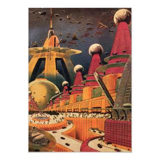 Vintage Science Fiction Futuristic City Flying Car 13 Cm X 18 Cm Invitation Card