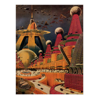 Vintage Science Fiction Futuristic City Flying Car Poster