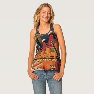 Vintage Science Fiction Futuristic City Flying Car Singlet