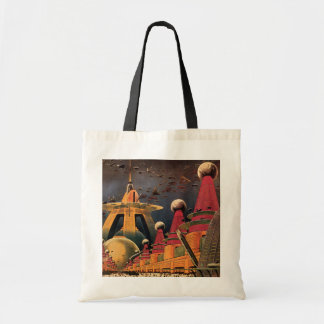 Vintage Science Fiction Futuristic City Flying Car Budget Tote Bag