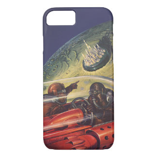 Vintage Science Fiction, Futuristic City on Moon iPhone 8/7 Case