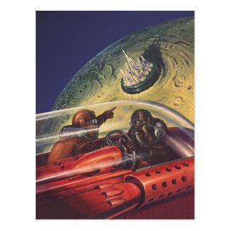 Vintage Science Fiction, Futuristic City on Moon Postcard