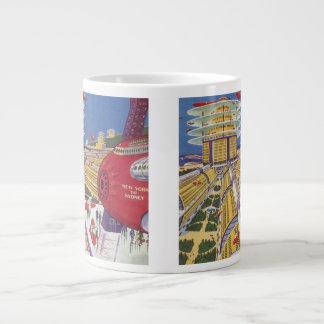 Vintage Science Fiction Futuristic New York City Jumbo Mugs