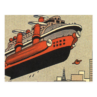 Vintage Science Fiction Helicopter Cruise Ship Post Card