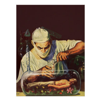 Vintage Science Fiction, Laboratory Mad Scientist Poster