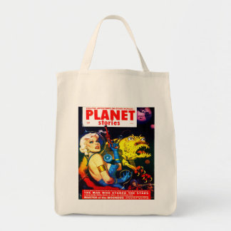 VINTAGE SCIENCE FICTION MAGAZINE COVER Grocery Tote Bags