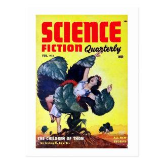 Vintage Science Fiction Man Eating Plants Postcard