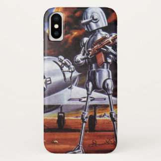 Vintage Science Fiction Military Robot Soldiers iPhone X Case