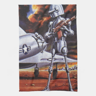 Vintage Science Fiction Military Robot Soldiers Kitchen Towel