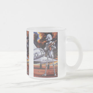Vintage Science Fiction Military Robot Soldiers 10 Oz Frosted Glass Coffee Mug