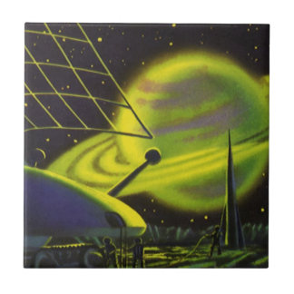 Vintage Science Fiction Neon Green Planet w Rings Tile