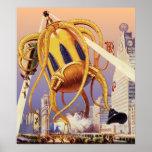 Vintage Science Fiction Octopus Alien Invasion War Print