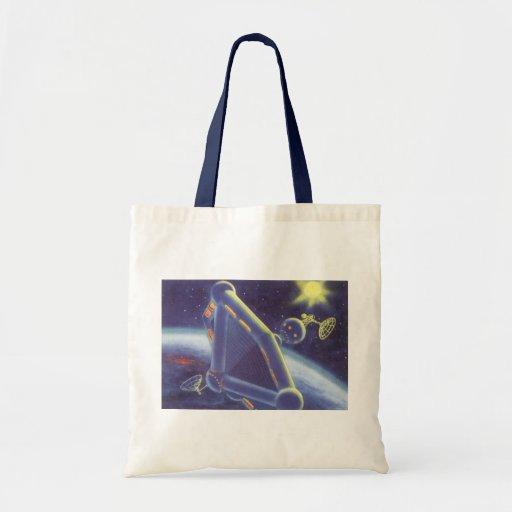 Vintage Science Fiction Orbiting Space Station Bag
