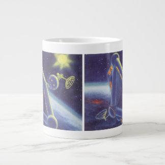 Vintage Science Fiction Orbiting Space Station Jumbo Mug