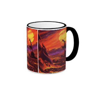Vintage Science Fiction Red Lava Volcano Planet Mugs