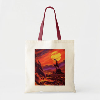 Vintage Science Fiction Red Lava Volcano Planet Canvas Bag