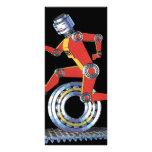 Vintage Science Fiction Robot, Machine Man Running Full Color Rack Card