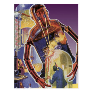 Vintage Science Fiction Robot with Laser Beam Eyes Postcard