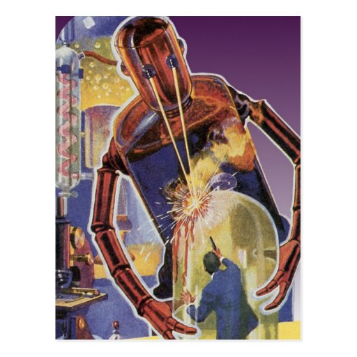 Vintage Science Fiction Robot with Laser Beam Eyes Postcards