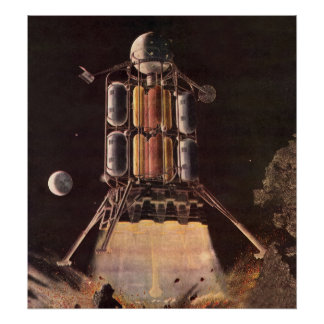 Vintage Science Fiction Rocket Blasting Off Planet Poster