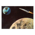 Vintage Science Fiction Rocket Over the Moon Earth Invite