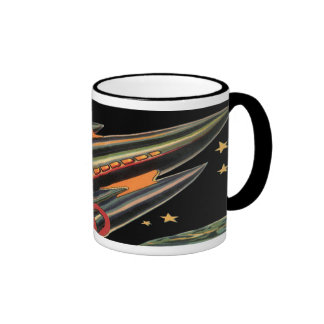 Vintage Science Fiction Rocket Ship, Space, Stars Coffee Mugs