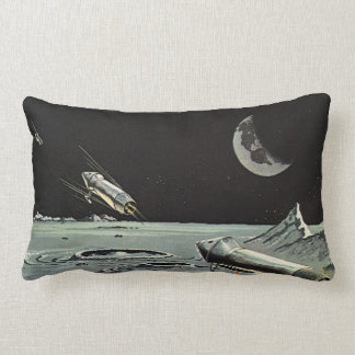 Vintage Science Fiction, Rocket Ships Moon Planets Lumbar Pillow