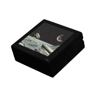 Vintage Science Fiction, Rocket Ships Moon Planets Small Square Gift Box