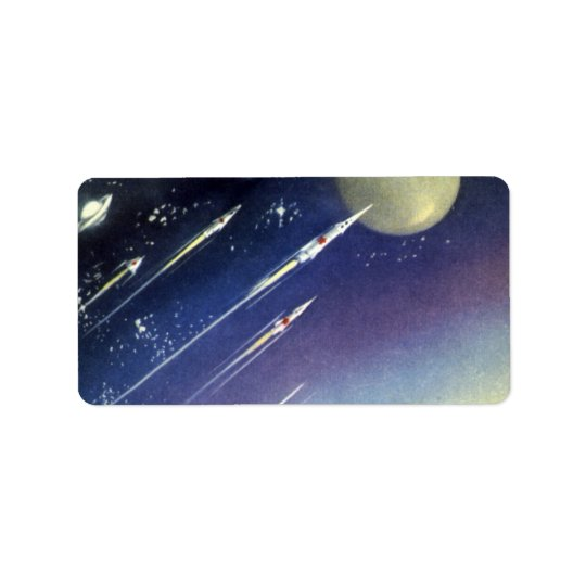 Vintage Science Fiction Rockets in Space by Planet Address Label
