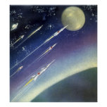 Vintage Science Fiction Rockets in Space by Planet Poster