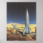 Vintage Science Fiction Rockets on Desert Planet Print