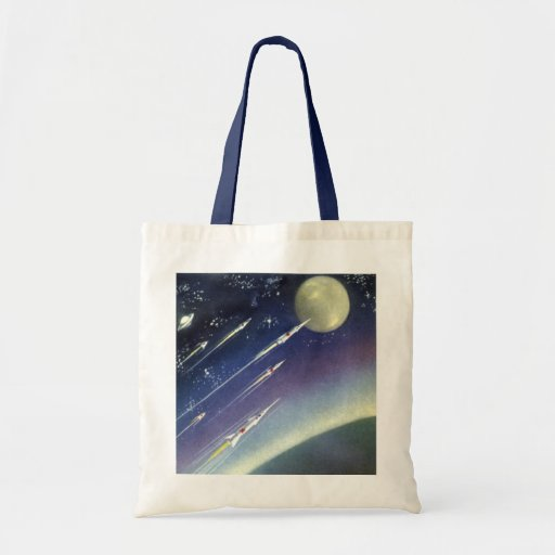 Vintage Science Fiction Rockets Outer Space Moon Bag