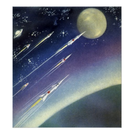 Vintage science fiction rockets outer space moon posters for Retro outer space