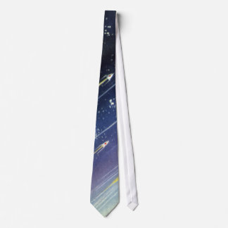 Vintage Science Fiction Rockets Outer Space Moon Tie