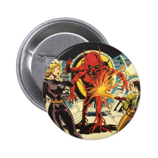 Vintage Science Fiction, Sci Fi Alien Attacking 6 Cm Round Badge