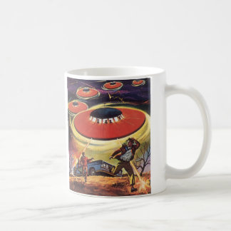 Vintage Science Fiction, Sci Fi, Alien Invasion Classic White Coffee Mug