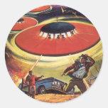 Vintage Science Fiction, Sci Fi, Alien Invasion Round Stickers