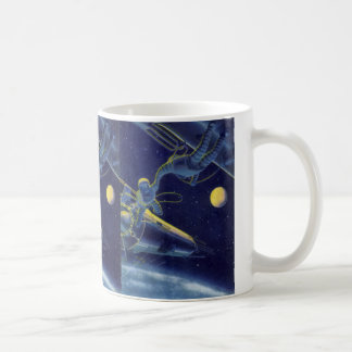 Vintage Science Fiction, Sci Fi Alien on Spacewalk Basic White Mug