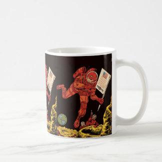 Vintage Science Fiction, Sci Fi, Astronaut on Moon Classic White Coffee Mug