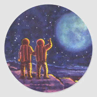 Vintage Science Fiction, Sci Fi Astronauts on Moon Classic Round Sticker