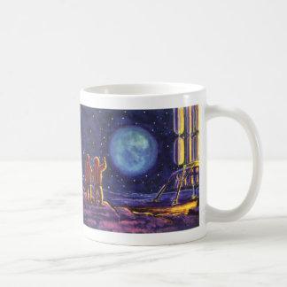 Vintage Science Fiction, Sci Fi Astronauts on Moon Classic White Coffee Mug