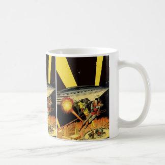 Vintage Science Fiction, Sci Fi, Battling Aliens Classic White Coffee Mug
