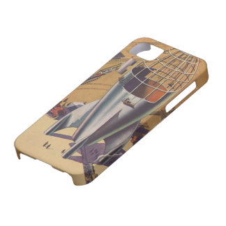 Vintage Science Fiction, Sci Fi, Building a Rocket Barely There iPhone 5 Case