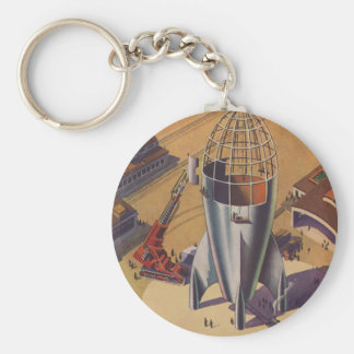 Vintage Science Fiction, Sci Fi, Building a Rocket Basic Round Button Key Ring