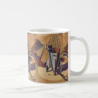Vintage Science Fiction, Sci Fi, Building a Rocket Classic White Coffee Mug