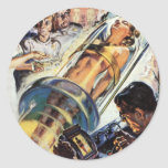 Vintage Science Fiction, Sci Fi, Female Experiment Round Stickers