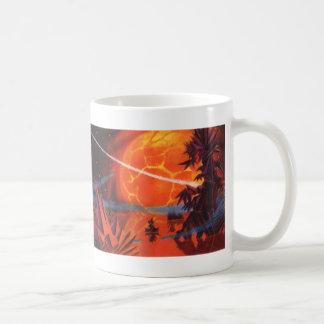 Vintage Science Fiction, Sci Fi, Fiery Fire Planet Basic White Mug