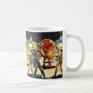 Vintage Science Fiction Sci Fi, Fighting the Alien Basic White Mug