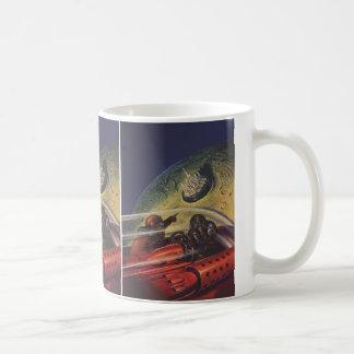 Vintage Science Fiction, Sci fi, Lunar Moon City Basic White Mug