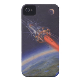 Vintage Science Fiction, Sci Fi Rocket over Earth iPhone 4 Case-Mate Cases